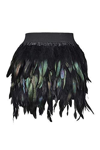 Zilcremo Faldas De Cóctel Cintura Elástica Mini Plumas para Mujer Negro XL