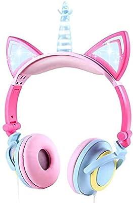 VERORAS Unicorn Kids Headphones, Glowing Unicorn Cat Ear LED Headphones for Children On/Over Ear, Wired Adjustable Foldable Headset, 85dB Volume Limited (Petal Unicorn) from VERORAS