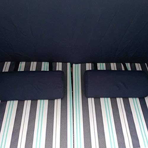 BRAST Strandkorb Deluxe 2-Sitzer XXL für 2 Personen 120cm breit mehrere Designs incl. Abdeckhaube Farbe Blau/Hellblau/Weiß gestreift Ostsee - 7