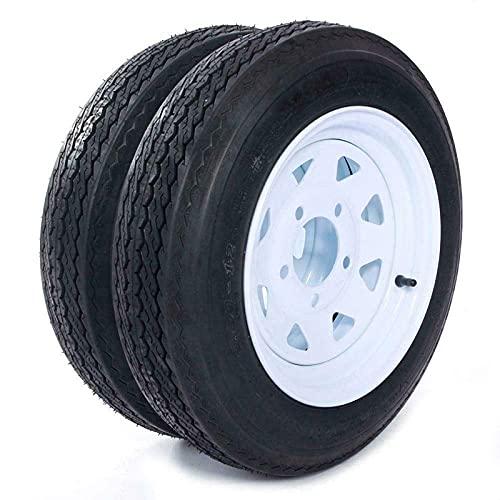 MOTOOS Trailer Tire 4.80 x 12 with Rim 5 Lug 2-pack Trailer Tire of Wheel 4.80-12 Load B 5 Lug 480 x 12 White Rim 4PLY Trailer on 4.5' Center Tire Tubeless