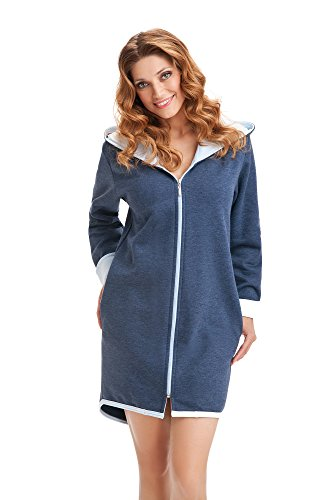 DOROTA kuscheliger und moderner Damen Baumwoll-Bademantel mit Taschen, Reißverschluss & Kapuze, made in EU, Marine-hellblau, Gr. M (38)