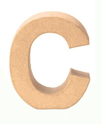 Glorex 6 2029 103 - Papp - Buchstabe C, Buchstabe aus brauner Pappe, ca. 17,5 X 5,5 cm groß, zum bemalen und bekleben, für Serviettentechnik und Décopatch, ideal als Dekoration