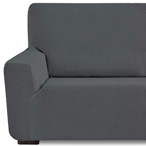 Eiffel Textile Funda de Sofa Milan Elastica Adaptable Lisa, 94% poliéster 6% Elastano, Gris, 3 Plazas