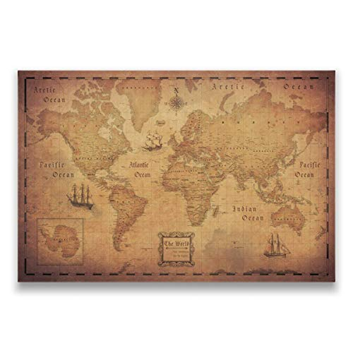 Push Pin World Map Board - With Push Pins to Mark World Travel - Handmade in Ohio, USA - Design:...