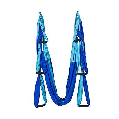 WEVB Juego de hamaca aérea para yoga, antigravedad, columpio ultra fuerte para ejercicios de suspensión de inversión con 2 extensiones de correas (azul mezclado)