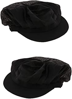 kesoto 2Pcs Black Half Mesh Men Women Chef Hat Adjustable Cooking Catering Cap Breathable