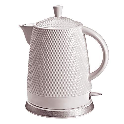 KVOTA Elektrischer Keramik Wasserkocher, Teekessel 1,5 L, 1500W, Noppen-Design, weiß, abnehmbarer Deckel