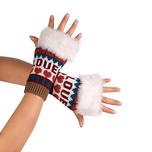 FFSMCQ Kleuren naaien pop-stijl wit pluche gebreide arm vingerloze creatieve winterhandschoenen unisex outdoor sport warme handschoenen