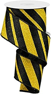 Wired Ribbon Glittered Black and Yellow Giant Diagonal Lines 2.5