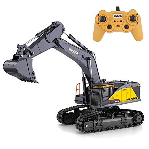 redcolourful for Kids HuiNa 1:14 1592 RC Alloy Excavator 22CH Big RC Trucks Simulation Excavator Remote Control Vehicle Toy for Boys Default