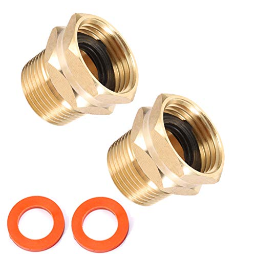 """Brass Garden Hose Adapter, 3/4"""" GHT Female x 3/4"""" NPT Male Connector,GHT to NPT Adapter Brass Fitting,Brass Garden Hose to Pipe Fittings Connect 2pcs (3/4"""" GHT Female x 3/4"""" NPT Male)"""