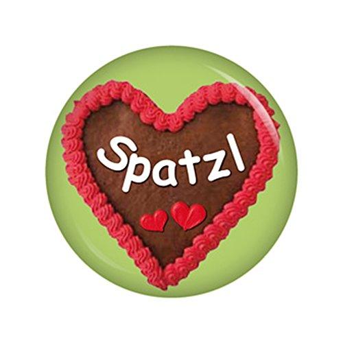 Kiwikatze® Fest - Lebkuchenherz Spatzl Button Ansteckbutton 37mm Oktoberfest Wiesn Volksfest für Dirndl oder Lederhose