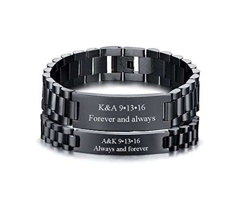 VNOX Personalized Names Date His and Hers Link ID Tag Watch Band Matching Couples Bracelets Set for Him Her