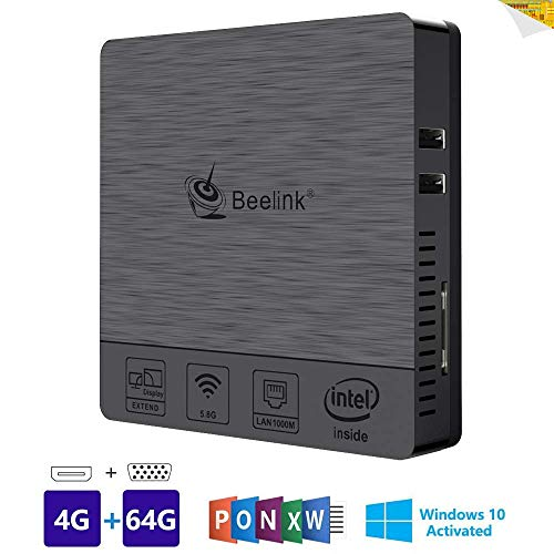 Beelink BT3 Pro II Mini PC Ordenador de sobremesa Soporte Windows 10 Home Sistema, 4GB RAM, 64GB eMMC ROM, Intel Atom x5-Z8350 Procesador, Dual-Band WiFi, Gigabit Ethernet, Salida HDMI/USB/SD/VGA