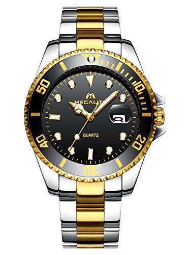 Relojes Hombres Relojes Acero Inoxidable Impermeable Luminoso Grande Analógico Reloj de Cuarzo Fecha Calendario Vestido de Negocios Diseñador Clásico Moda Relojes de Pulsera para Hombres