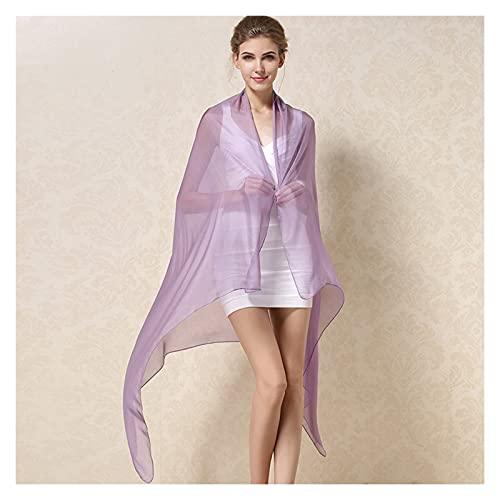 Xu Yuan Jia-Shop Moda Bufanda Chal Mujeres Seda Bufanda Chal Hembra Pura Seda Bufandas envueltas Color sólido más tamaño chales largas Playa Cubierta-upssilk Bufanda acogedora (Color : Purple)