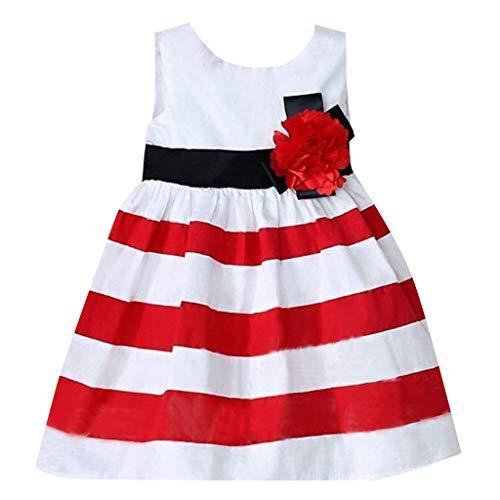 Janly Clearance Sale Falda de vestido para nias de 0 a 4 aos, vestido sin mangas de rayas anchas, vestido de flores casual, bonito regalo para 2 a 3 aos de Pascua, da de San Patricio (rojo)