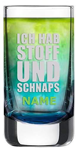 Schott Zwiesel Schnapsglas [Paris] mit individueller Gravur [Name] und [Motiv - Ich Hab Stoff Und Schnaps] - MeinGlas