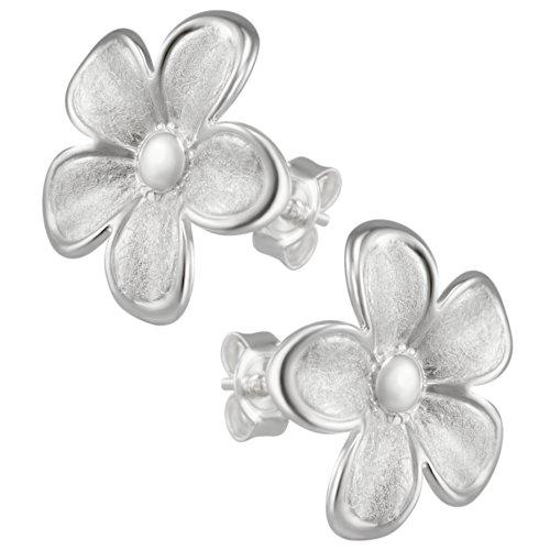Vinani Ohrstecker Blume gebürstet Rand glänzend Sterling Silber 925 Blüte Ohrringe OBTA