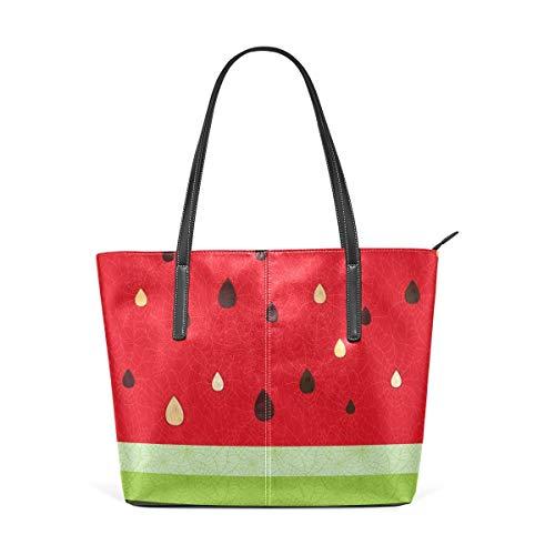 Wassermelone Saft Obst PU Leder Schultertasche Tote Bag Geldbörse für Frauen Mädchen