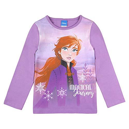 Disney niñas El Reino de Hielo Frozen, Anna Camiseta, T-Shirt, Manga Larga, Violeta, Talla 98, 3 años