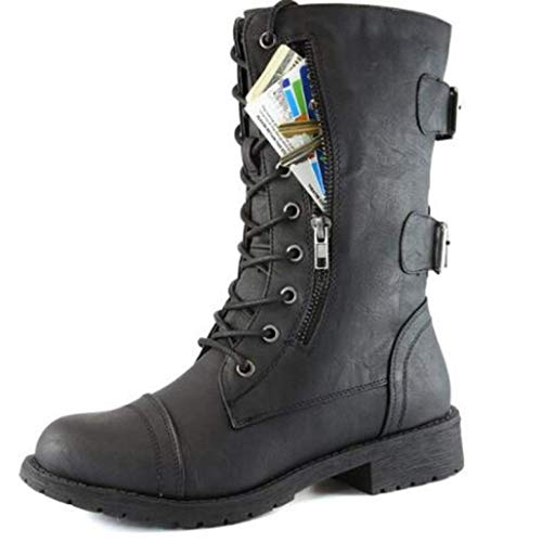 FMTZZY High heels for women Women's Military Lace Up Combat Boots Buckled Mid Calf Credit Card Knife Money Wallet Pocket Boots (Color : Black, Size : 6)