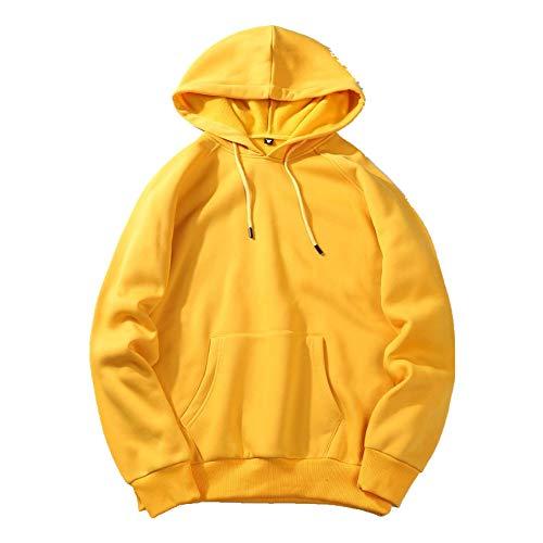 Preisvergleich Produktbild Nobrand Herren Pullover für Herbst und Winter,  Plüsch und verdickt,  einfarbig,  langärmelig Gr. Medium,  gelb