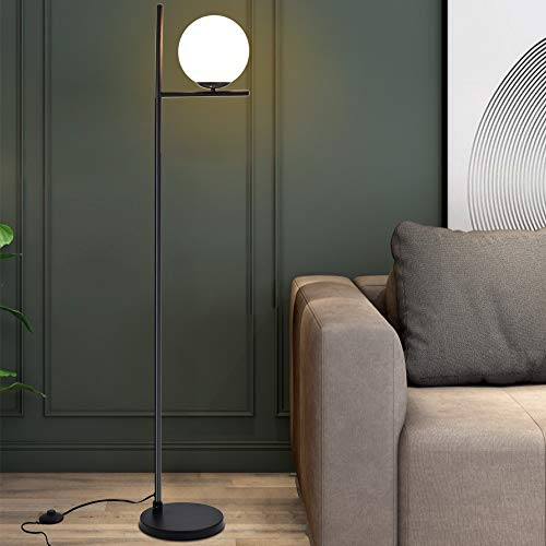 Depuley LED Stehleuchte Schwarz E27 Warmweiß, Modern Stehlampe Wohnzimmer mit weiß Glas Kugel & Fußschalter,3000K Augenschutz, Metall, 9W Birne, 720lm für Schlafzimmer Büro Esszimmer Halle Hotel