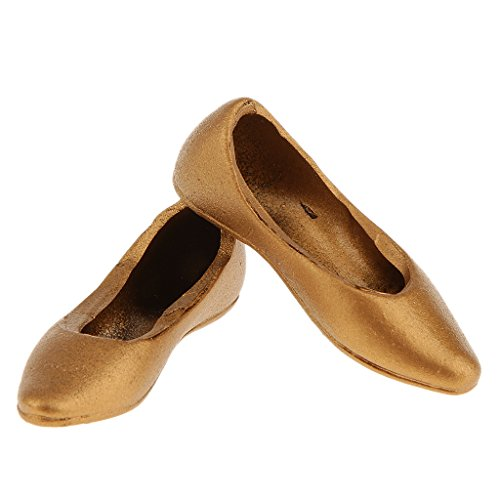 "Prettyia 1/6 Gold Flat Pumps Ballet Ballerina Dolly Shoes for 12"" Female Figure Toys"