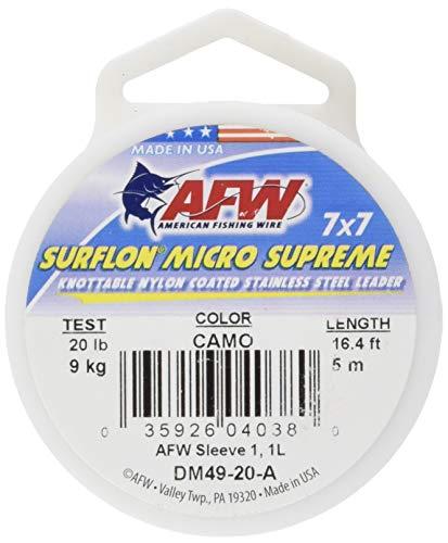 American Fishing Wire Surflon Micro Supreme Nylonbeschichteter 7 x 7 Edelstahl-Vorfachdraht, Camo Brown Farbe, 5,9 kg Test, 5 Meter