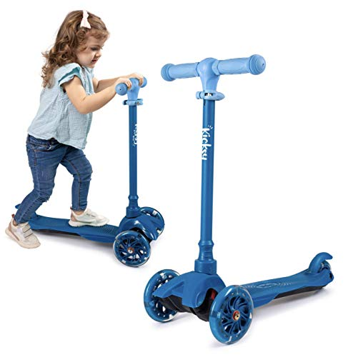 KicksyWheels Scooters for Kids - 3 Wheel Toddler Scooter for Boys & Girls - Toddlers and Kids Toys for 1 Year Old and Up - Three Heights & Light Up Wheels (Ocean Blue, w/o seat)