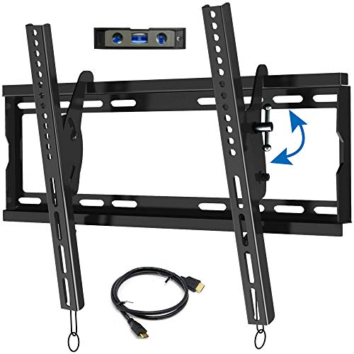 """Everstone Universal Tilting TV Wall Mount for 23-55"""" Flat Screen TVs,Curved TVs up to VESA 400x400mm &125 LBS,Low Profile Tilt tv Bracket fits 8-16"""" Wall Studs,with HDMI Cable & Bubble Level"""