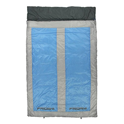 Fridani 2 Mann Schlafsack QB 225x140cm XXL Deckenschlafsack Blau -22°C warm wasserabweisend waschbar