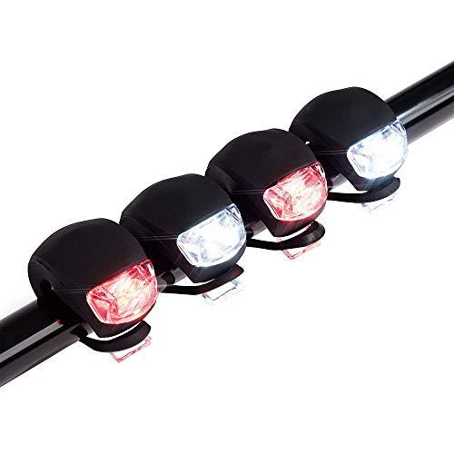 12shage_ 4 Stück Led Silikon Mountainbike Fahrrad Vorne Hinten Lichter Set Push Cycle Clip Light,3 Beleuchtungsmodi,Passt Auf Alle Arten Von Fahrrädern