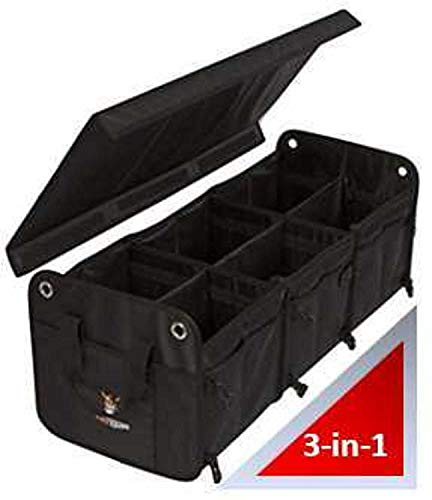 Tuff Viking Convertible Large 3 Compartment SUV Trunk Organizer | Truck Bed Organizer with Cover for Trucks, Cars, SUVs and Groceries. PATENTED ( 4-in-1 with Cover, Black)