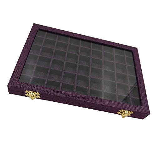 Cajas de joyería Caja de línea 54 rejillas de cristal transparente anillos titular escaparate almacenamiento organizador 31x22x2.8cm joyería embalaje