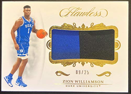 2019 Panini Flawless ZION WILLIAMSON Rookie Basketball Card - 2 Color Jersey Patch Serial# 09/25 (Only 25 Exist) - Duke Blue Devils