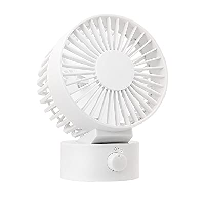 WitMoving Desk Fan New & Noiseless USB Fan with Adjustable Head, Dual Fan Blades, 2 Speeds, Mini Size Desktop Fan for Home Office Outdoor Travel (White)