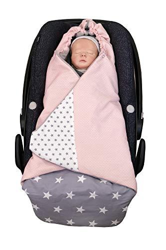 ULLENBOOM ® Einschlagdecke Babyschale Rosa Grau (Made in EU) - Babydecke für Autositz (z.B. Maxi Cosi ®), Babywanne oder Kinderwagen, ideale Decke für Babys (0 bis 9 Monate)