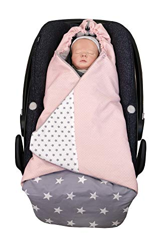 ULLENBOOM ® Einschlagdecke Babyschale Rosa Grau (Made in EU) - Babydecke für Autositz (z.B. Maxi Cosi ®), Babywanne oder Kinderwagen, ideale Baby Decke (0 bis 9 Monate) für den Winter