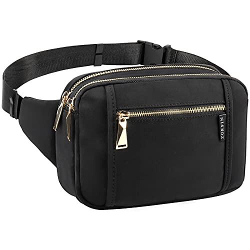 ZORFIN Fanny Packs for Women Men, Fashion Waist Pack Belt Bag with 5 Zipper Pockets Adjustable Belt, Casual Hip Bum Bag for Disney Travel Shopping Hiking Cycling Running (Black)