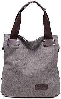 Fashion Handbags Canvas Handbags New Simple Big Bag Portable Messenger Bag Tide Leisure Art College Wind Shoulder Bag (Color : Grey)