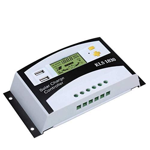 ZYY Controlador de cargador solar Regulador de panel solar LCD LCD Liquid Visualización de cristal PWM Regulador de carga 30A 12V / 24V Sensor de temperatura de doble uso del interruptor de ajuste aut