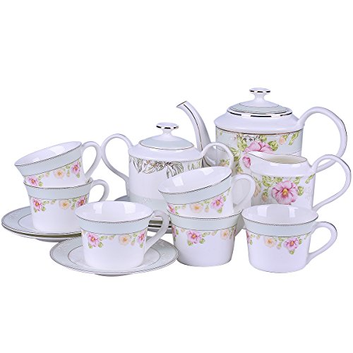 Royal England Style China Teapot and Cup Set Service for 6