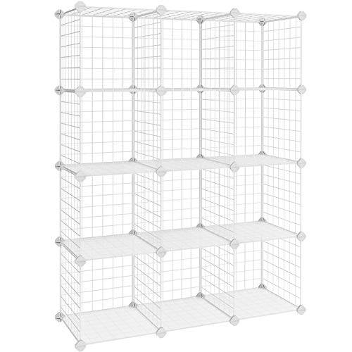SONGMICS Armadietto Scaffale DIY scaffalatura modulare Interconnesso 12 Cubi Rete Metallica Bianco Armadio Scaffale 93 x 31 x 123 cm (L x P x A) LPI34W