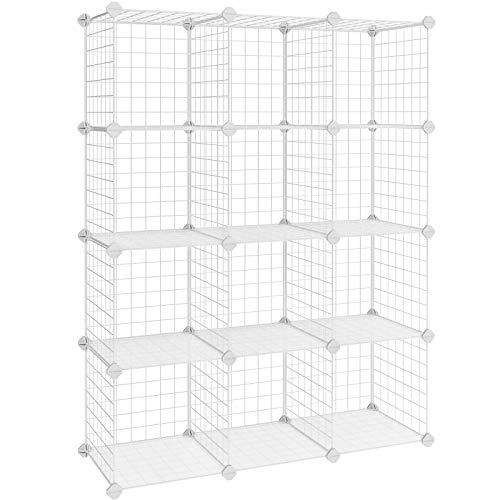 SONGMICS Armario Modular de Malla de Hierro, Estantería de Almacenaje con 12 Cubos, Organizador Modulable y Ajustable,...