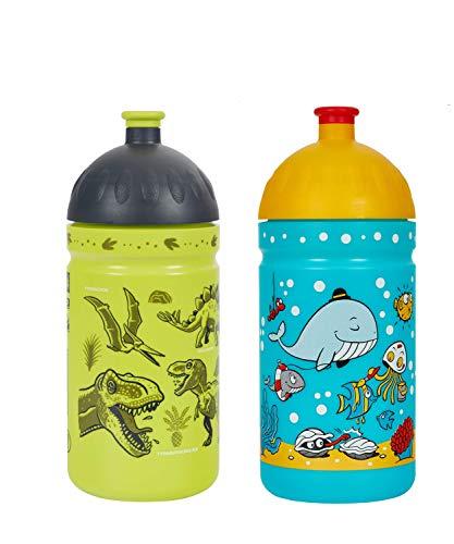 Eco Gourde Duo Pack La Gourde écologique Enfant sans BPA Bouteille d'eau Made in EU (Le Monde de la mer + Les Dinosaures)
