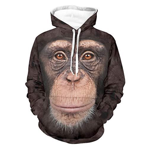 Ouniaodao Hombre Orangutan Face Hoodies Boyfriend Style - Jersey Uniforme blanco 2xl