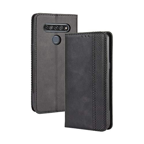 LAGUI Kompatible für LG K61 Hülle, Leder Flip Hülle Schutzhülle für Handy mit Kartenfach Stand & Magnet Funktion als Brieftasche, schwarz