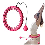 KASUE Smart Weighted Hula Hoops for Adults & Kids 24 Detachable Knots, 3 lb, 2 in 1 Abdomen Fitness Weight Loss Massage 360° Auto-Spinning Hoola Hoop for Adults/Kids/Beginner Fitness Aids